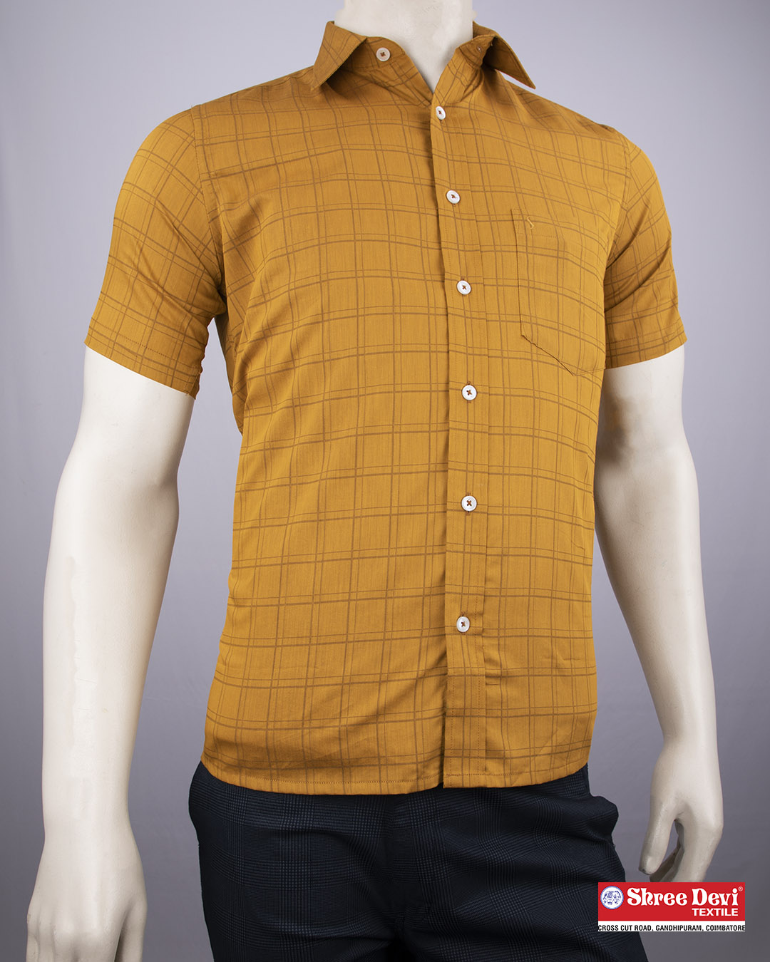 Dark Honey Orange Checkered Half Sleeve Shirt