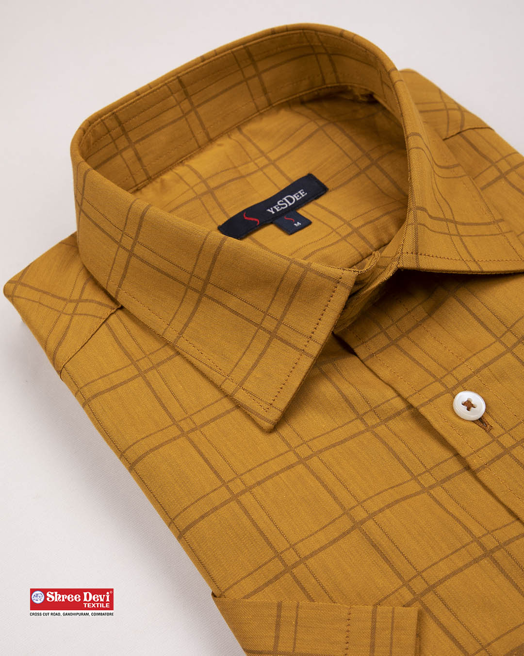 Dark Honey Orange Checkered Formal Shirt