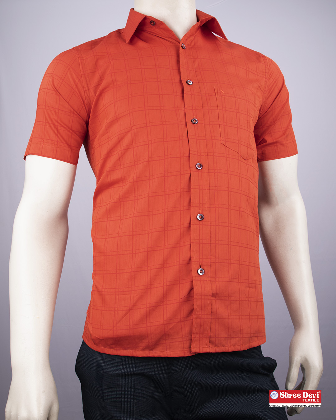 Tomato Orange Formal Half Sleeve Shirt