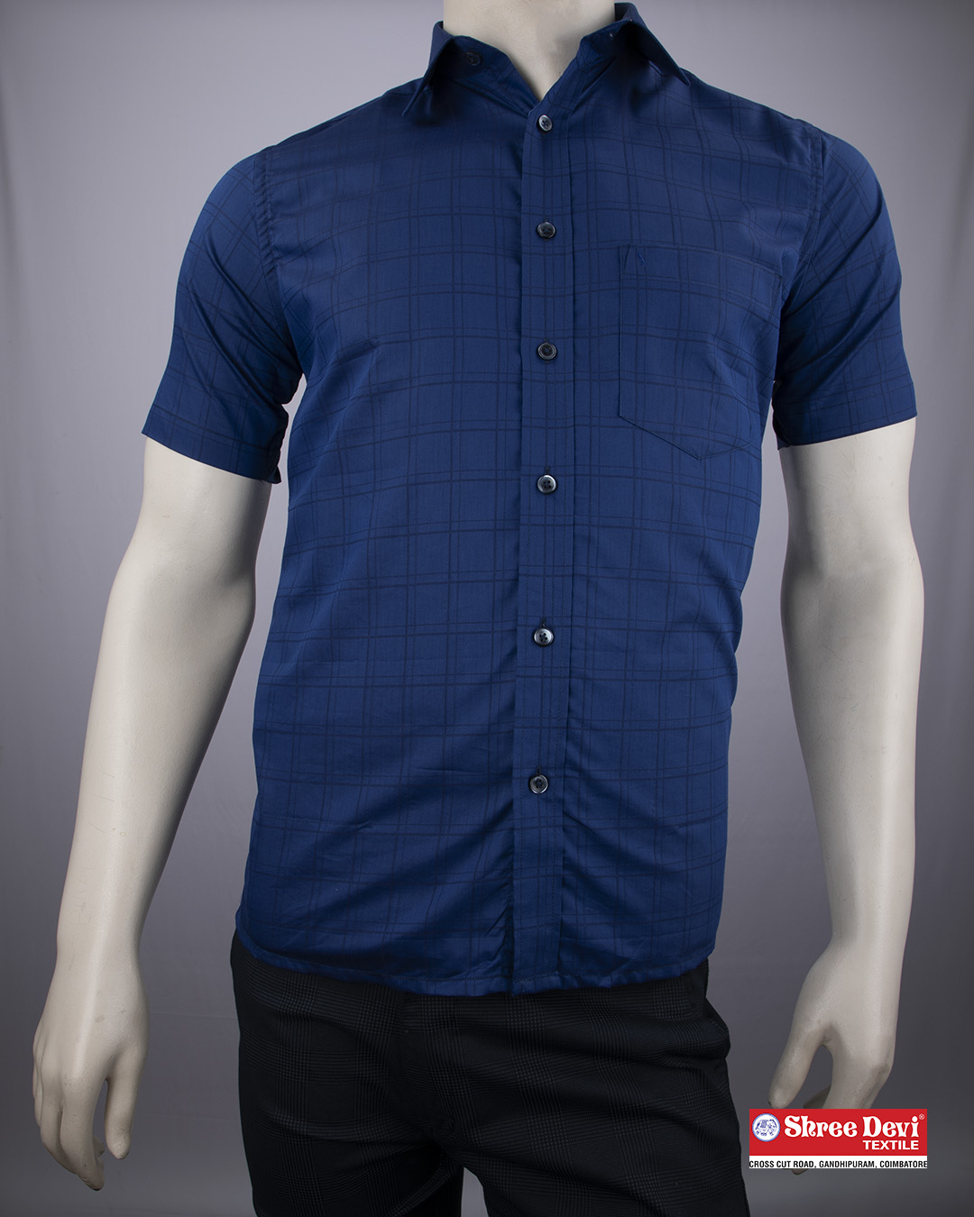 Midnight Blue Checkered Formal Half Sleeve Shirt