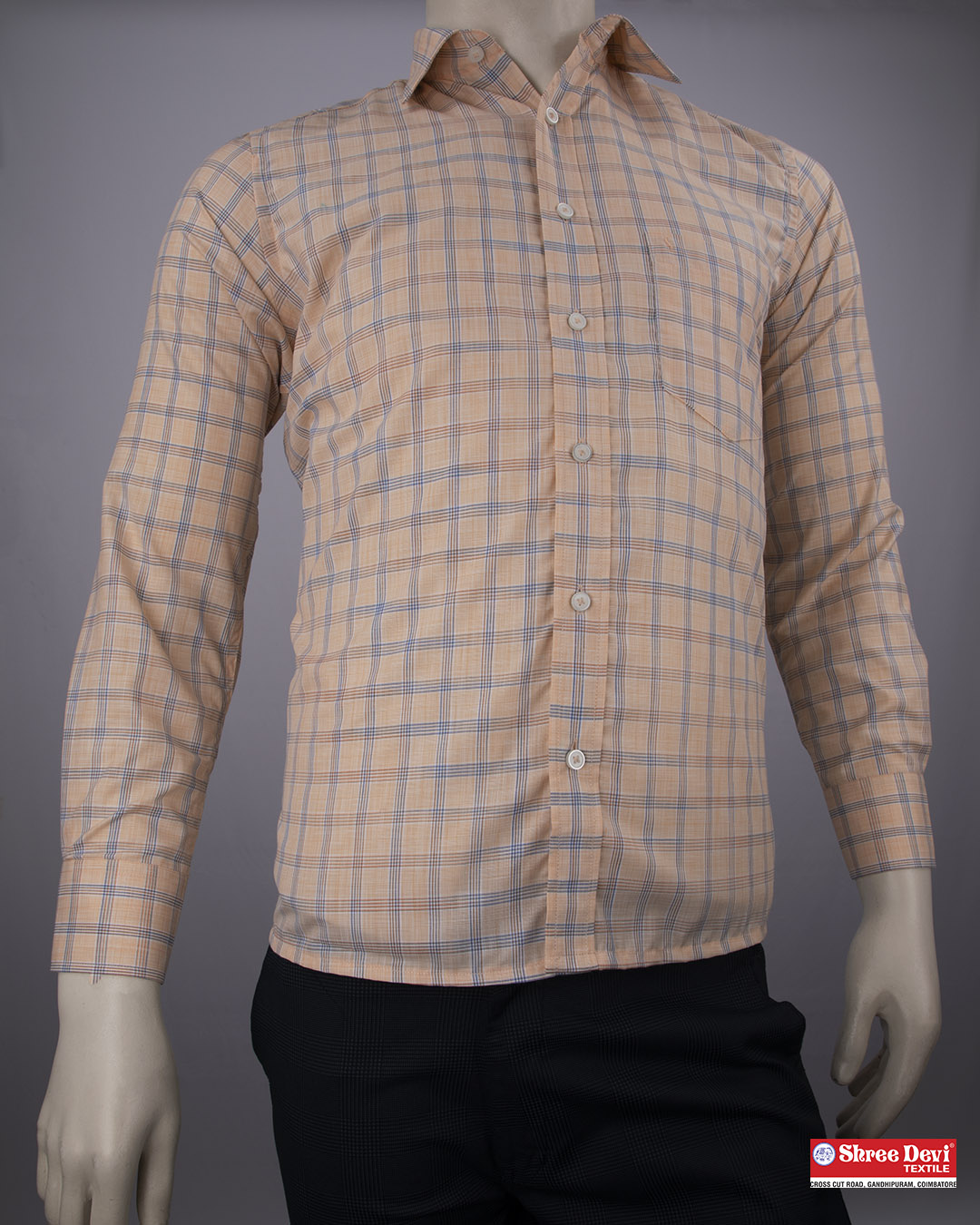 Tumbleweed Orange Checkered Formal Full Sleeve Shirt