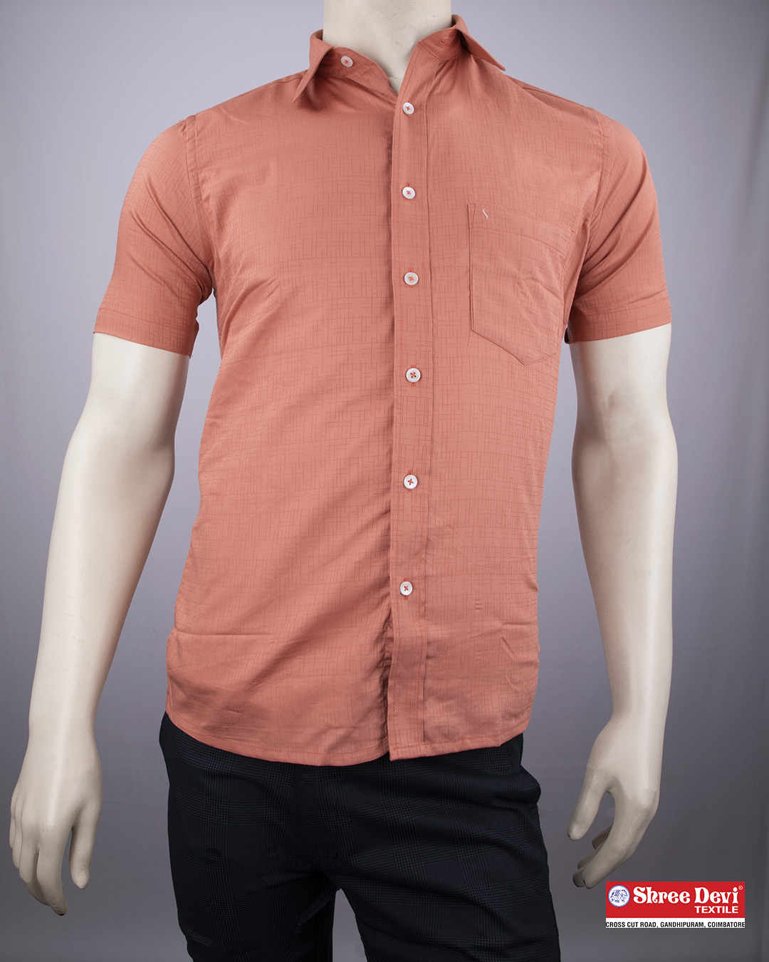 Salmon Orange Formal Half Sleeve Shirt
