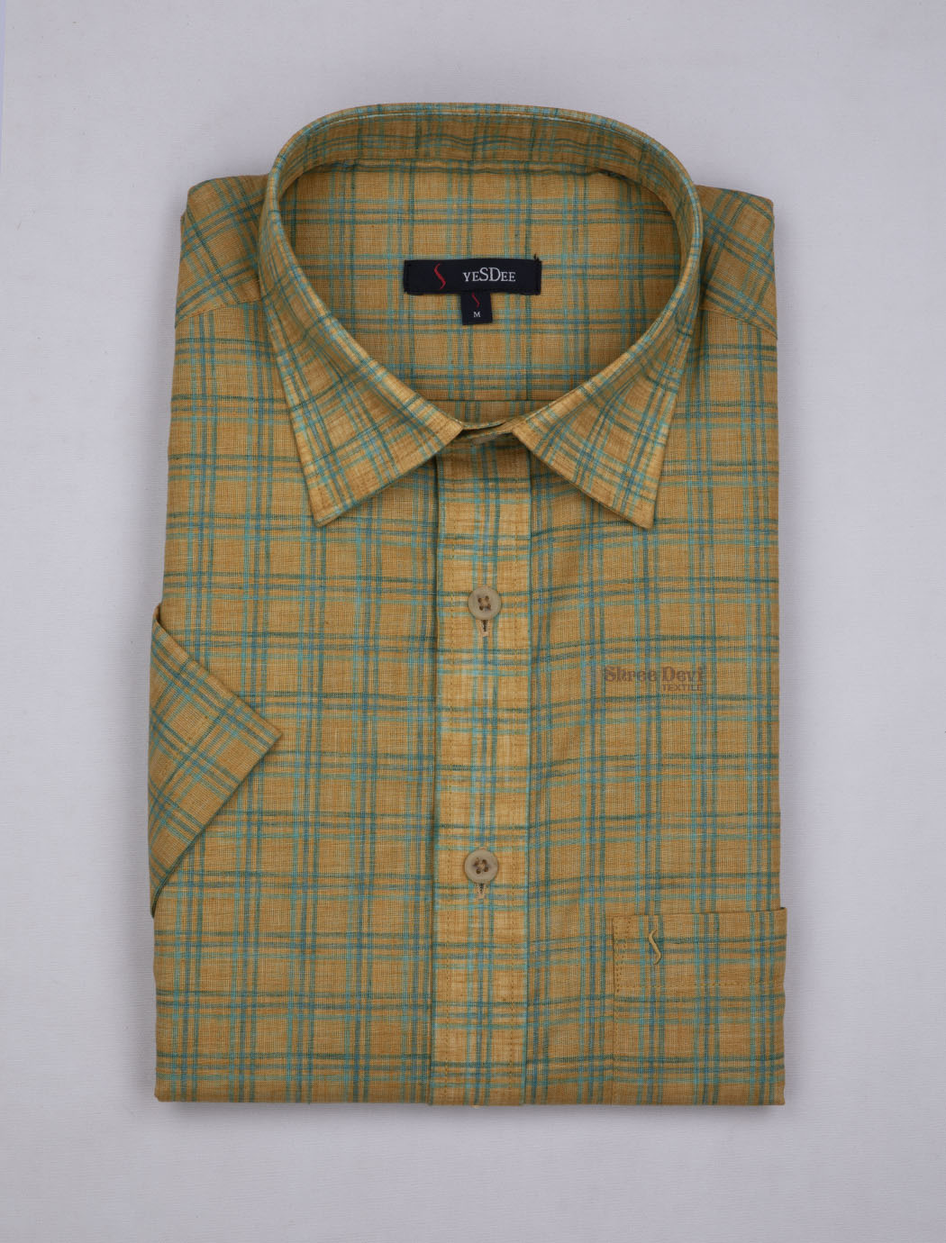 Yellowish Brown Checks Master in Master Half Sleeve Shirt