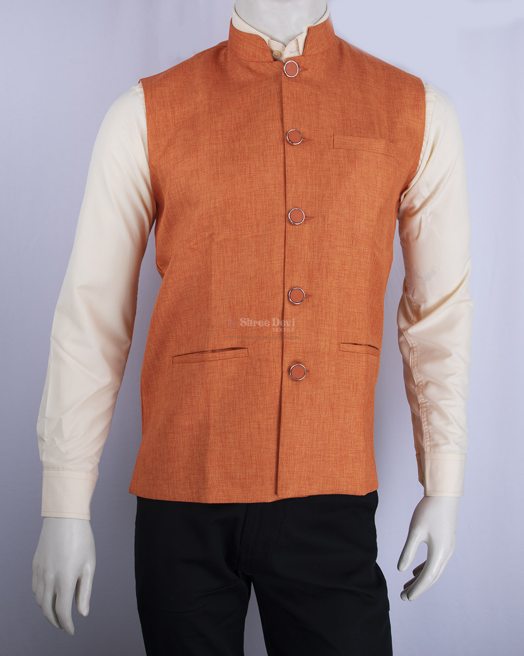 Bright Orange Solid Waistcoat