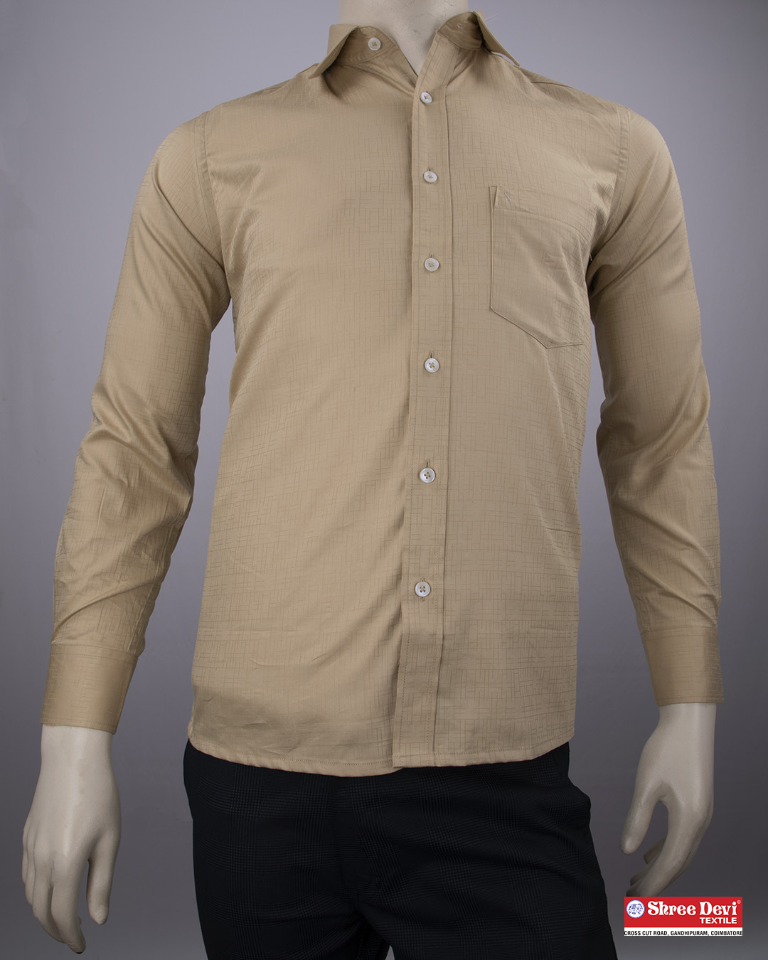 Tan Brown Formal Full Sleeve Shirt
