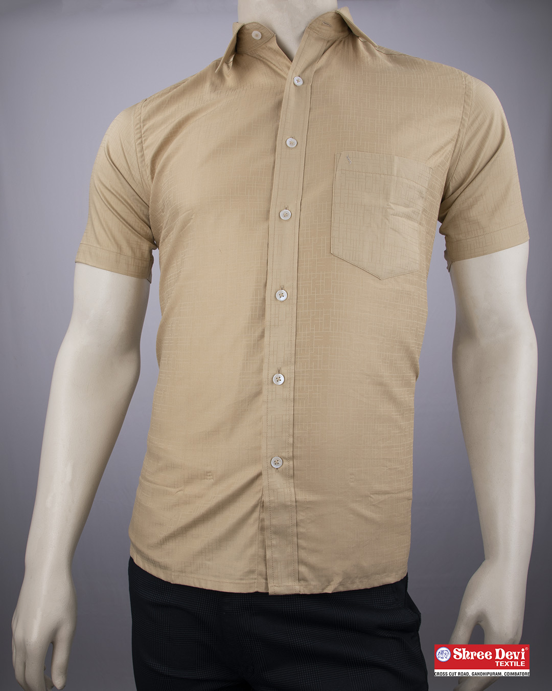 Tan Brown Formal Half Sleeve Shirt