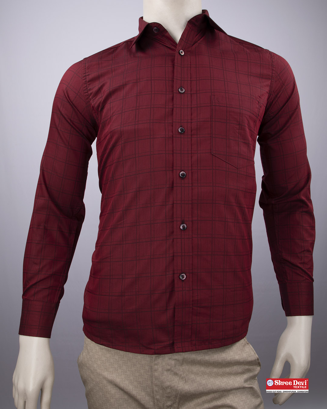 Maroon Red Checkered Formal Shirt