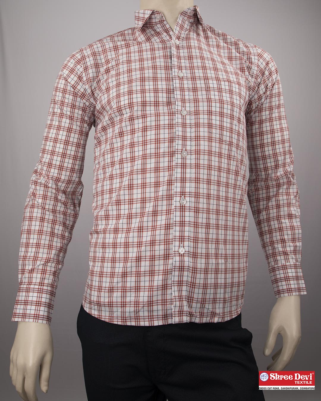 Meringue White Checkered Formal Full Sleeve Shirt