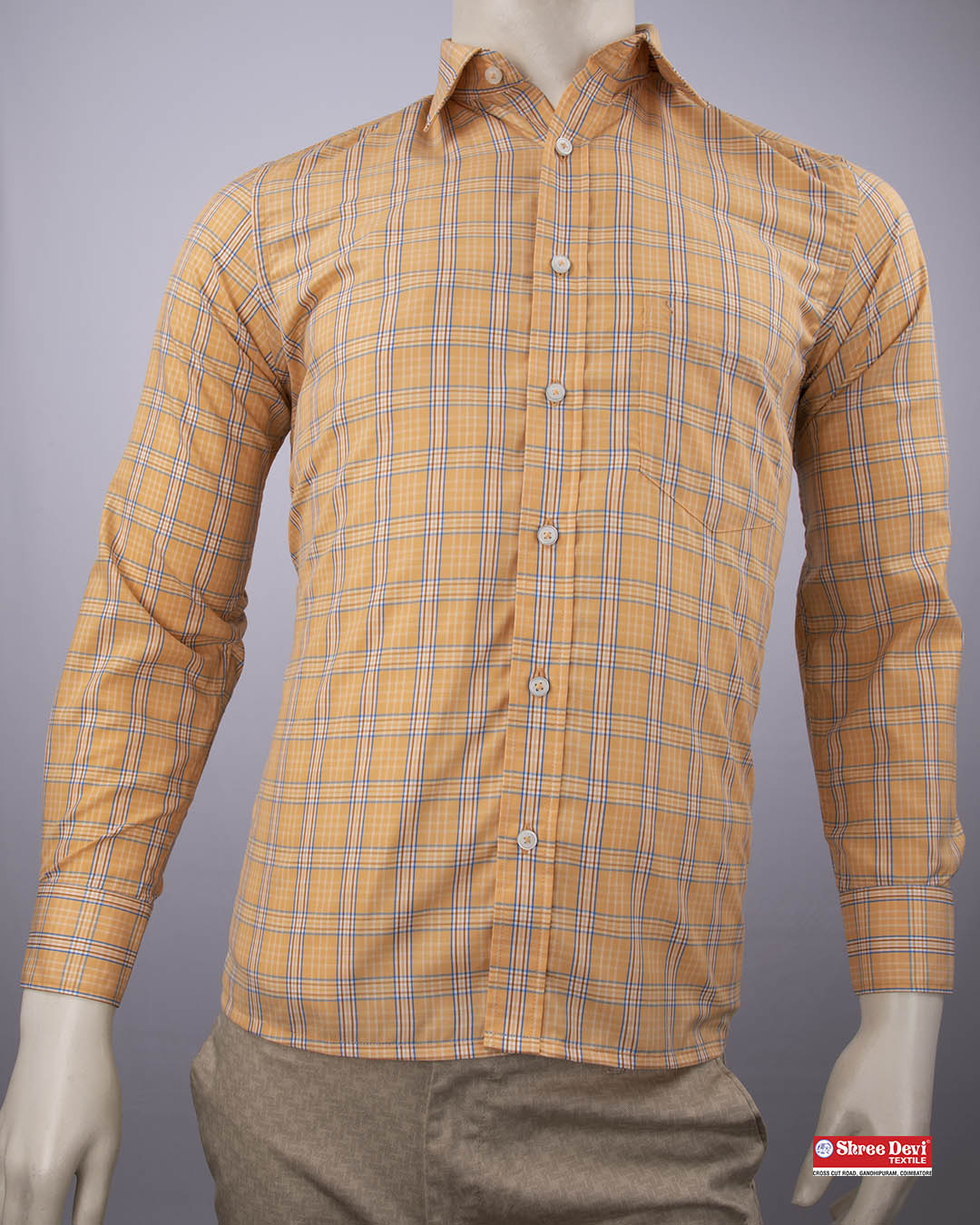 Light Sandal Color Checkered Formal Shirt