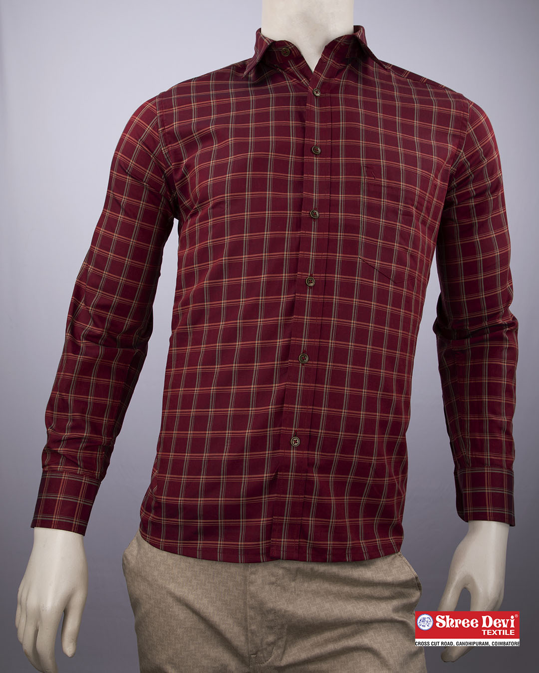 Maroon Checkered Formal Full Sleeve Shirt