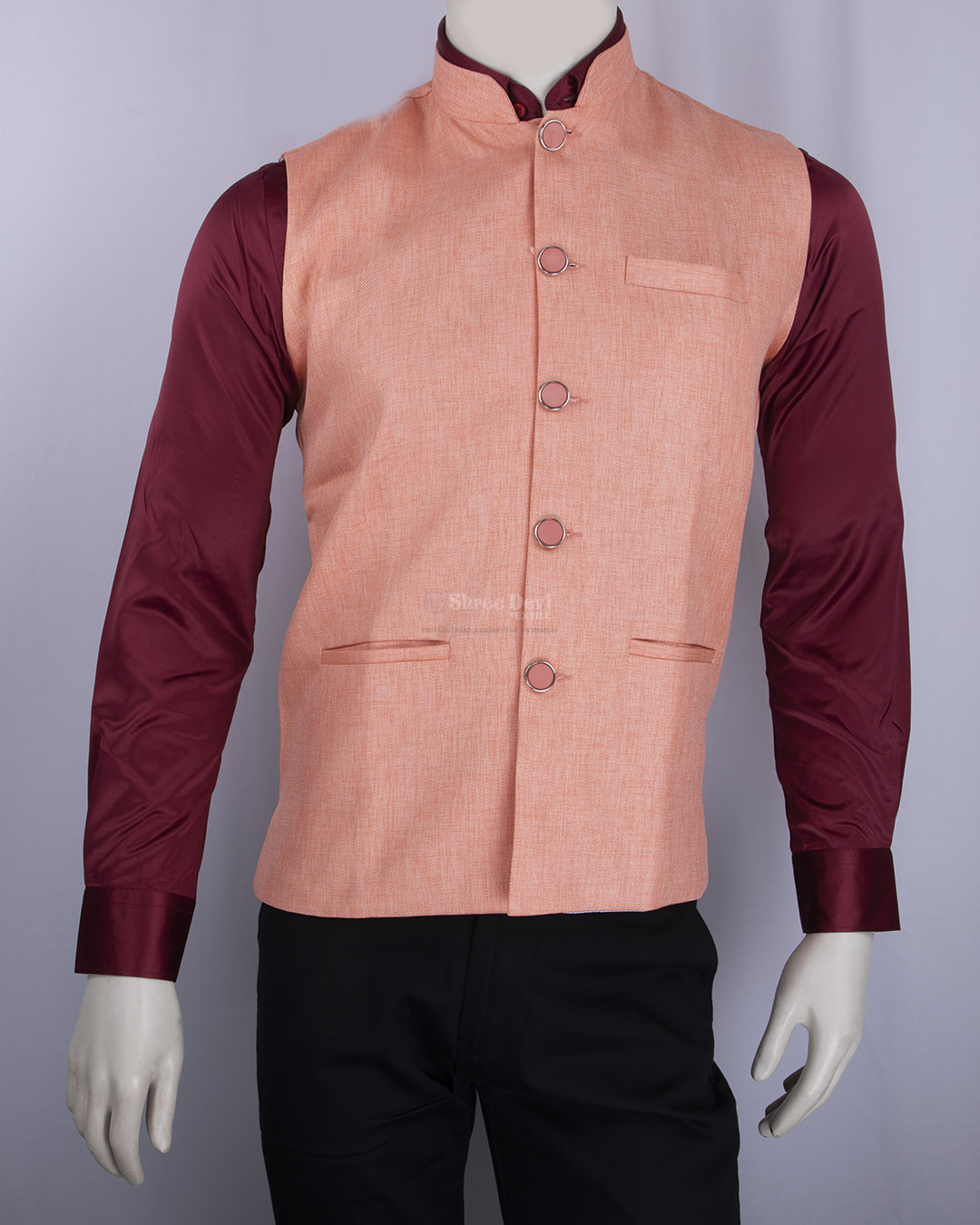 Coral Pink Solid Waistcoat