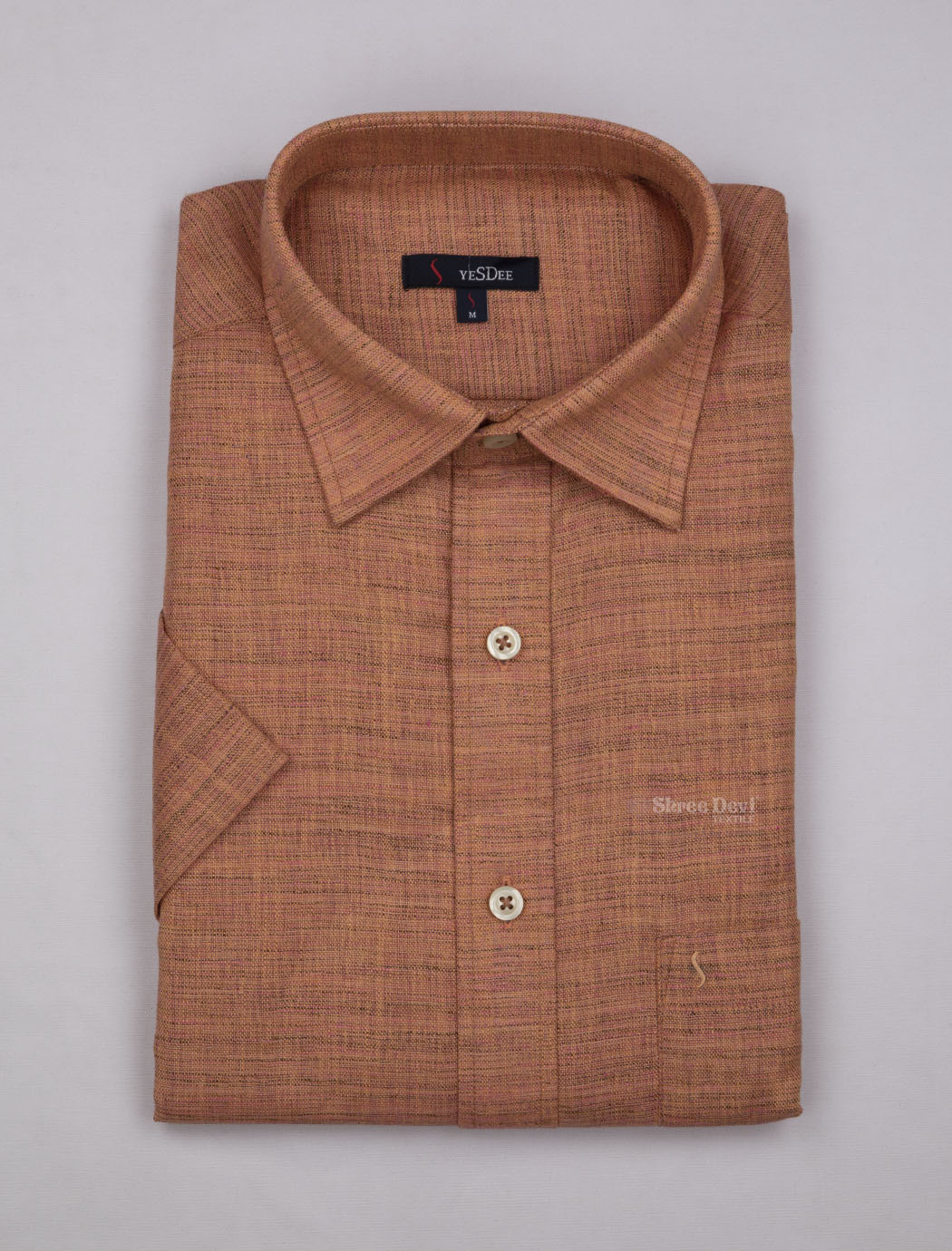 Rust Orange Self Design Master in Master Half Sleeve Shirt