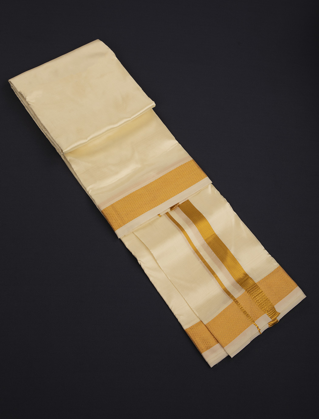 Cream White Art Silk Dhoti with Golden Two Inches Border