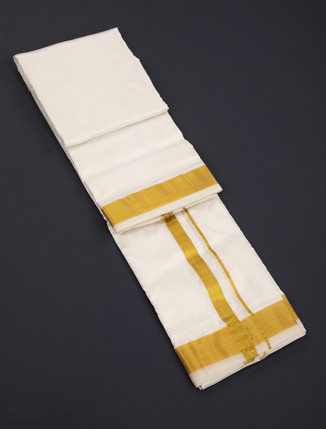 Snow White Handloom Pure Silk Dhoti with Golden Squares Weaving Pattern