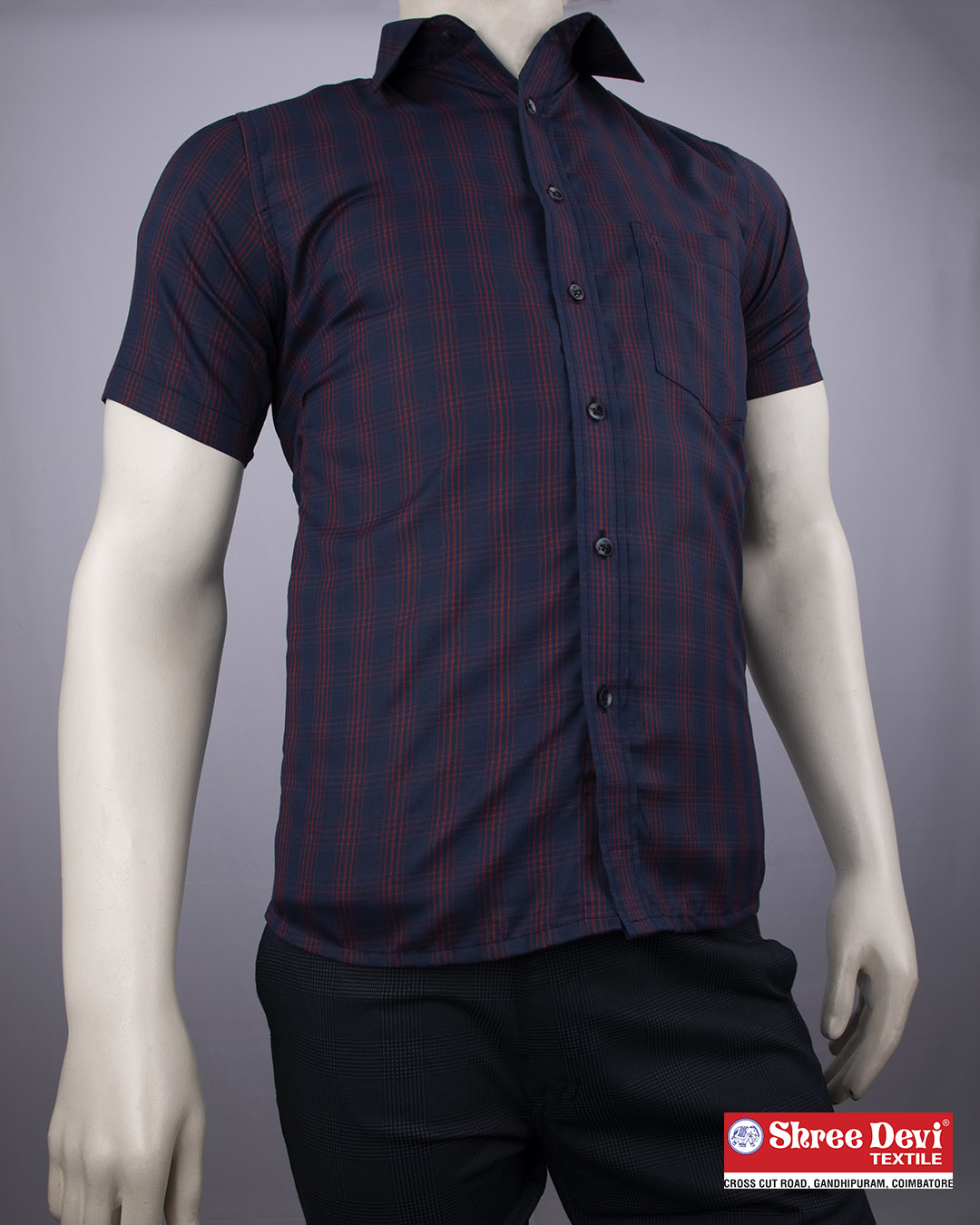 Denim Blue Checkered Half Sleeve Shirt