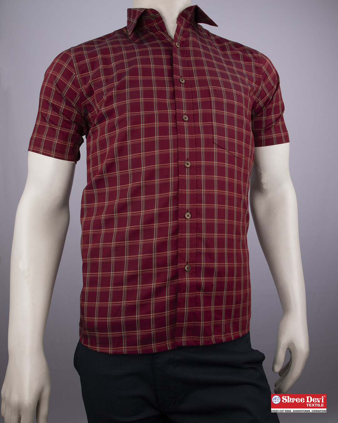 Maroon Checkered Formal Half Sleeve Shirt