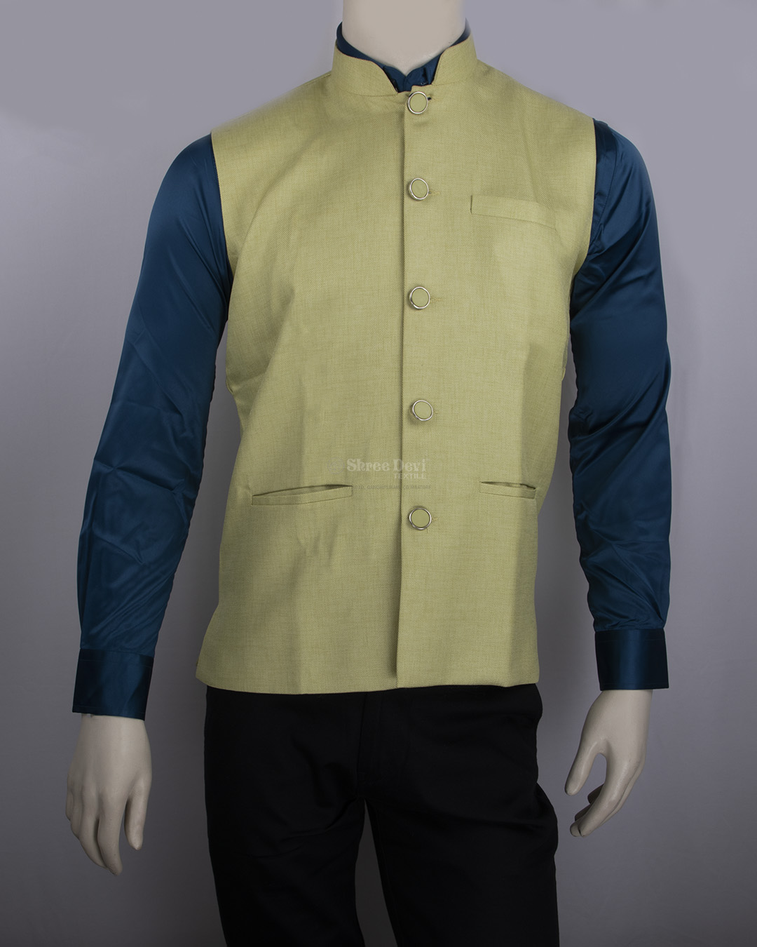 Light Yellow Solid Waistcoat