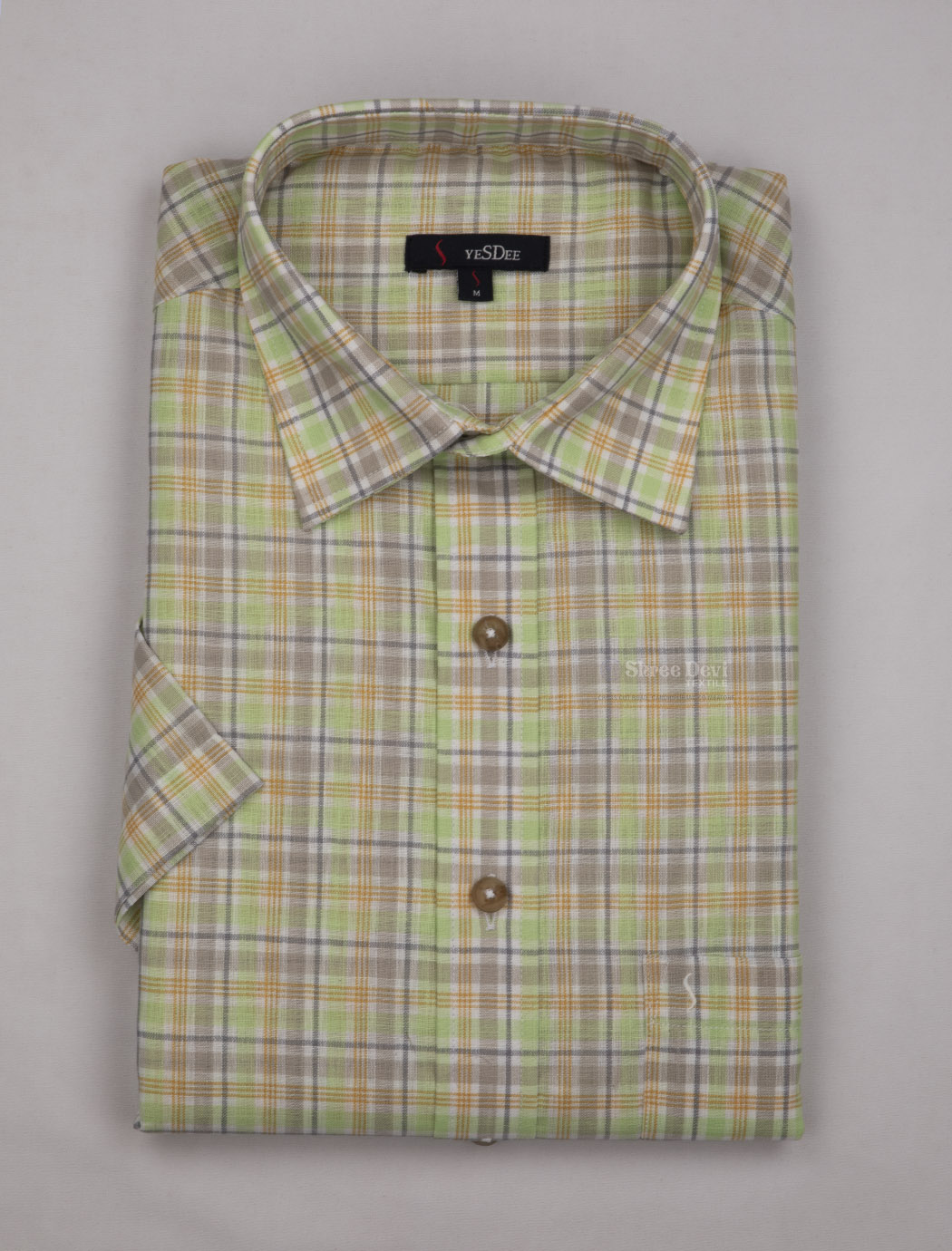 Light Green Checks Master in Master Half Sleeve Shirt