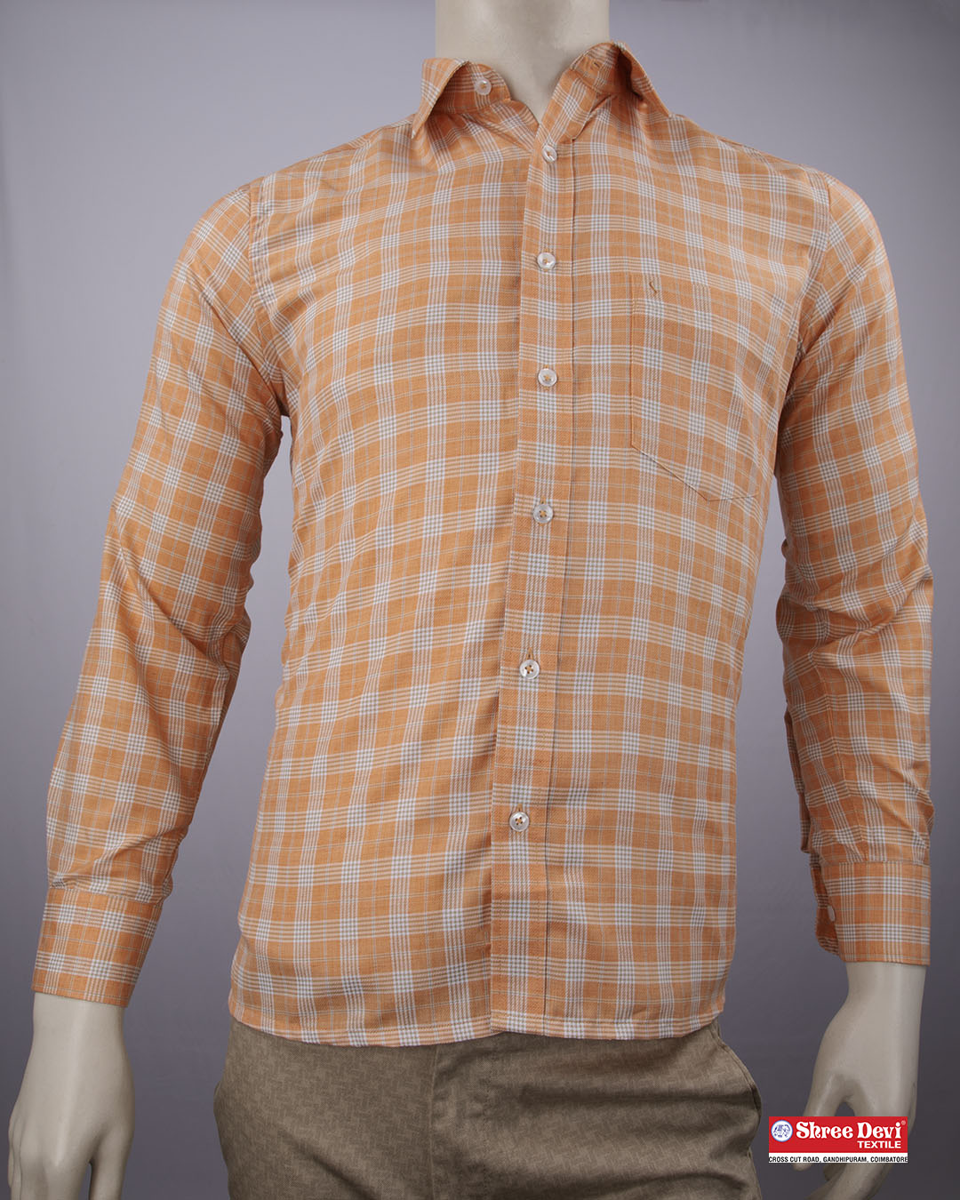 Mango Orange Checkered Formal Shirt