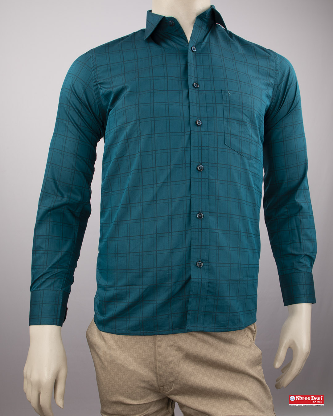 Peacock Blue Checkered Formal Shirt