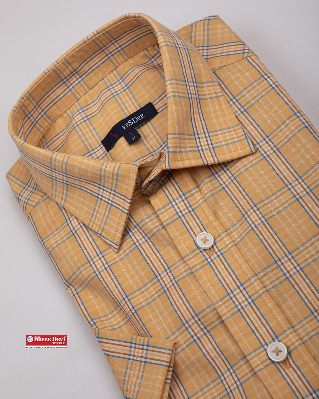 Light Sandal Color Checkered Formal Half Sleeve Shirt