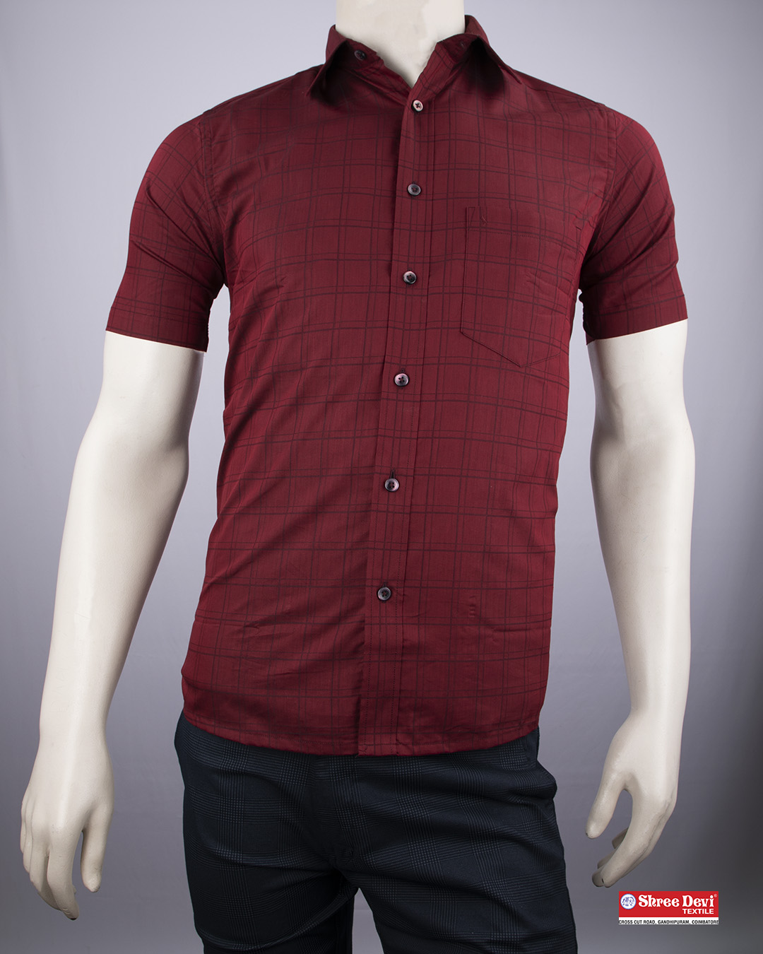 Maroon Red Formal Half Sleeve Shirt
