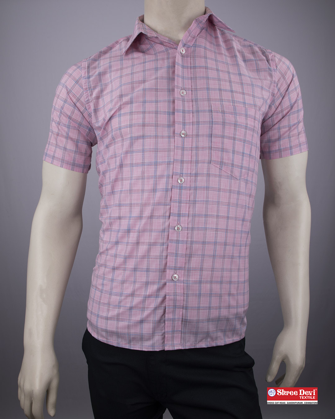 Blush Pink Checkered Formal Half Sleeve Shirt
