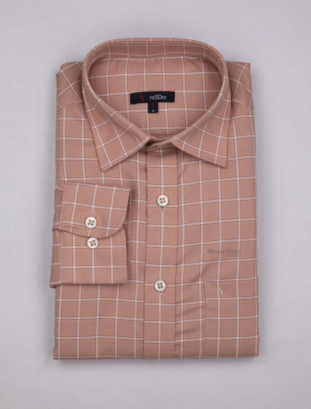 Salmon Pink Checks Full Sleeve Shirt