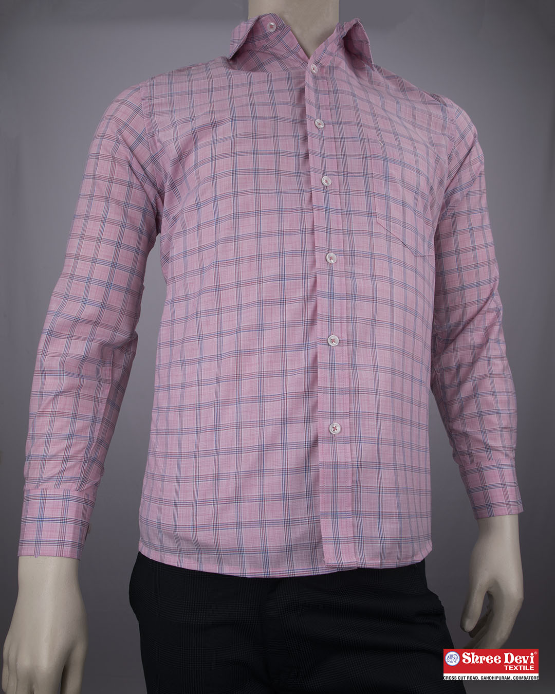 Blush Pink Checkered Formal Full Sleeve Shirt