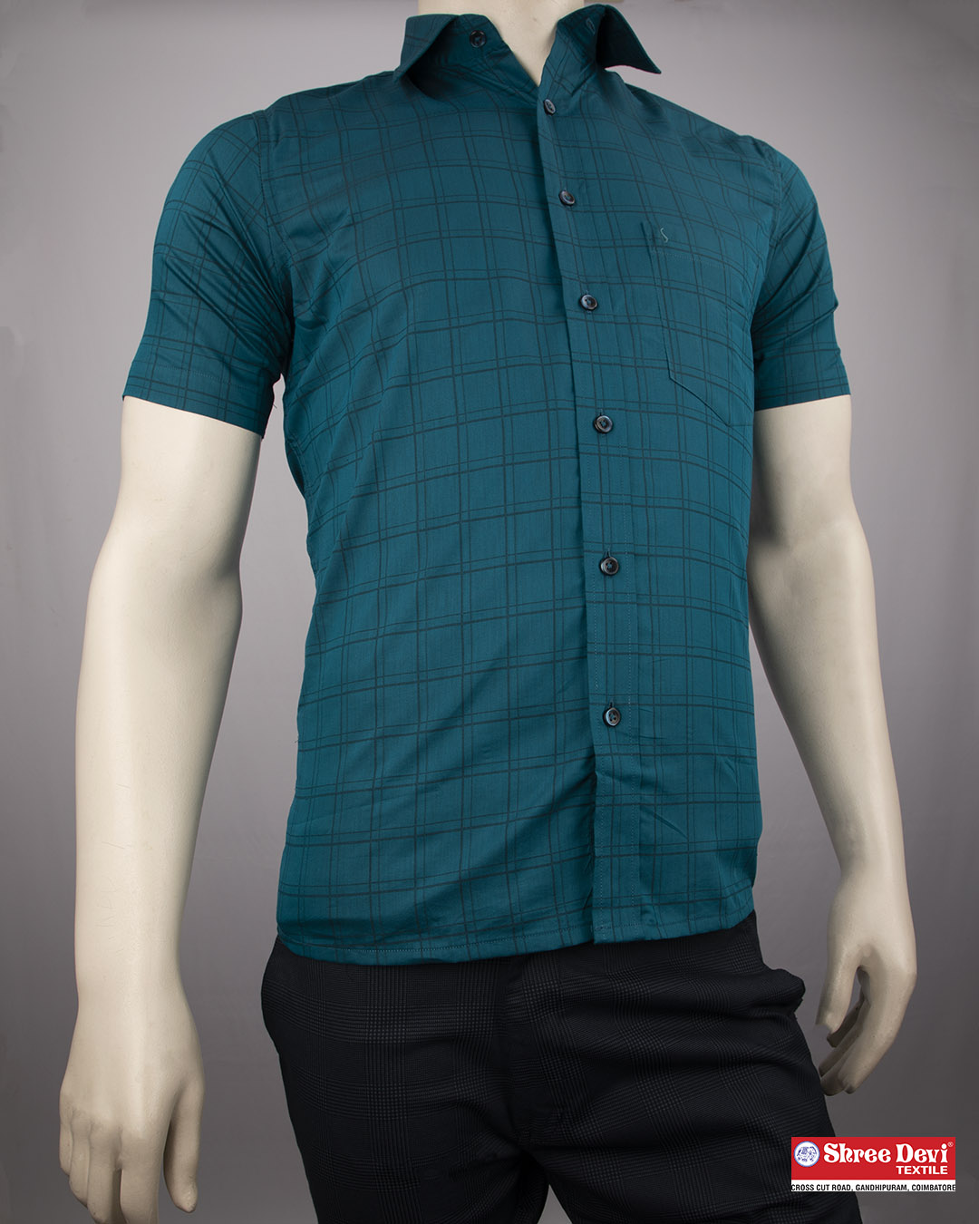 Peacock Blue Formal Half Sleeve Shirt