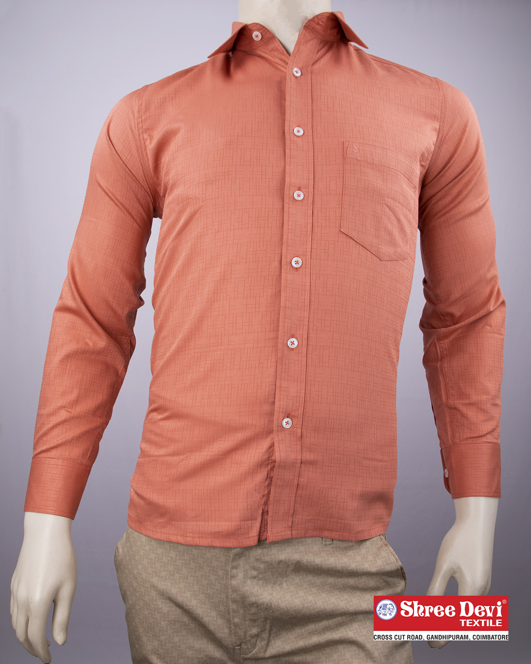 Salmon Orange Formal Full Sleeve Shirt