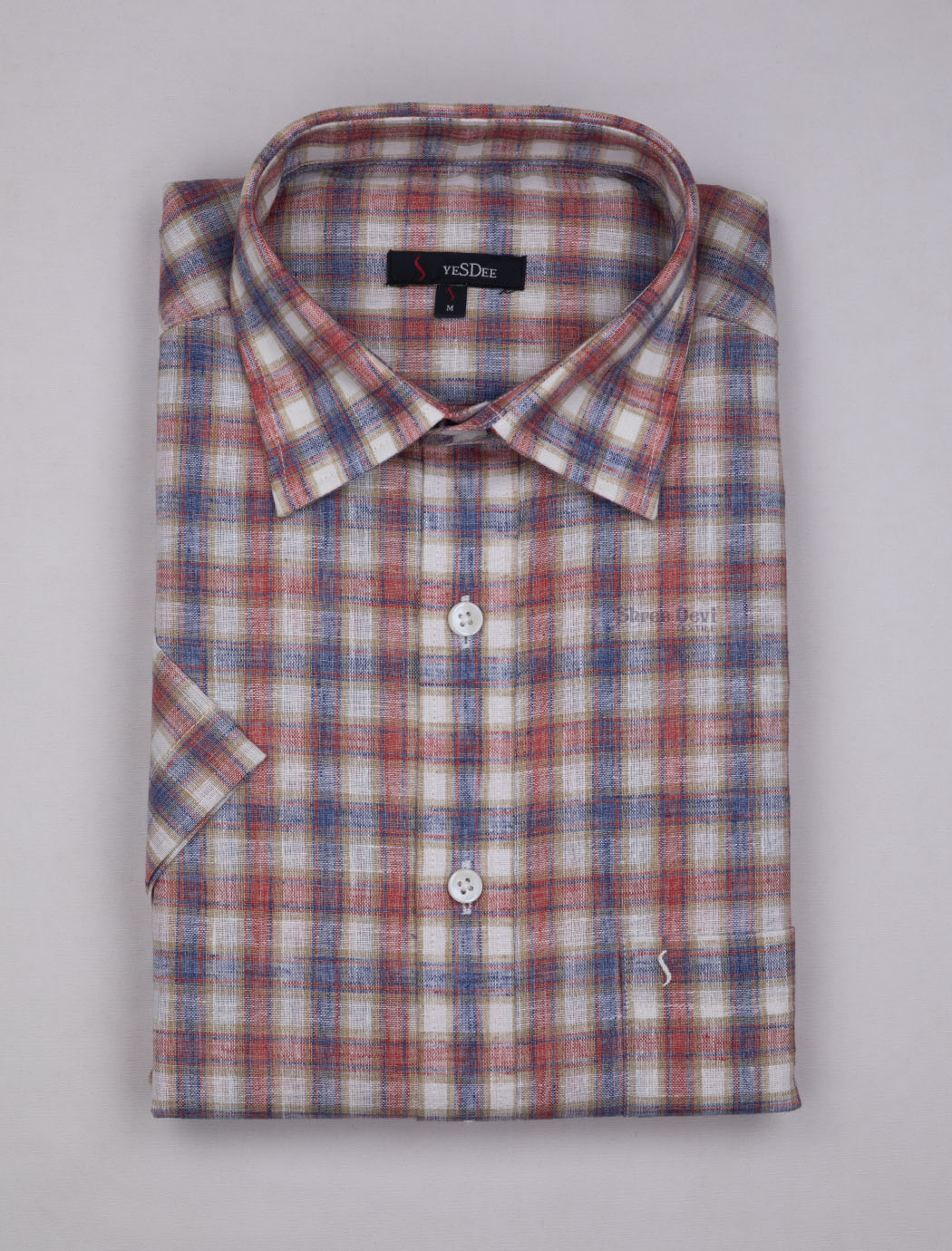 White Multi Color Checks Master in Master Half Sleeve Shirt