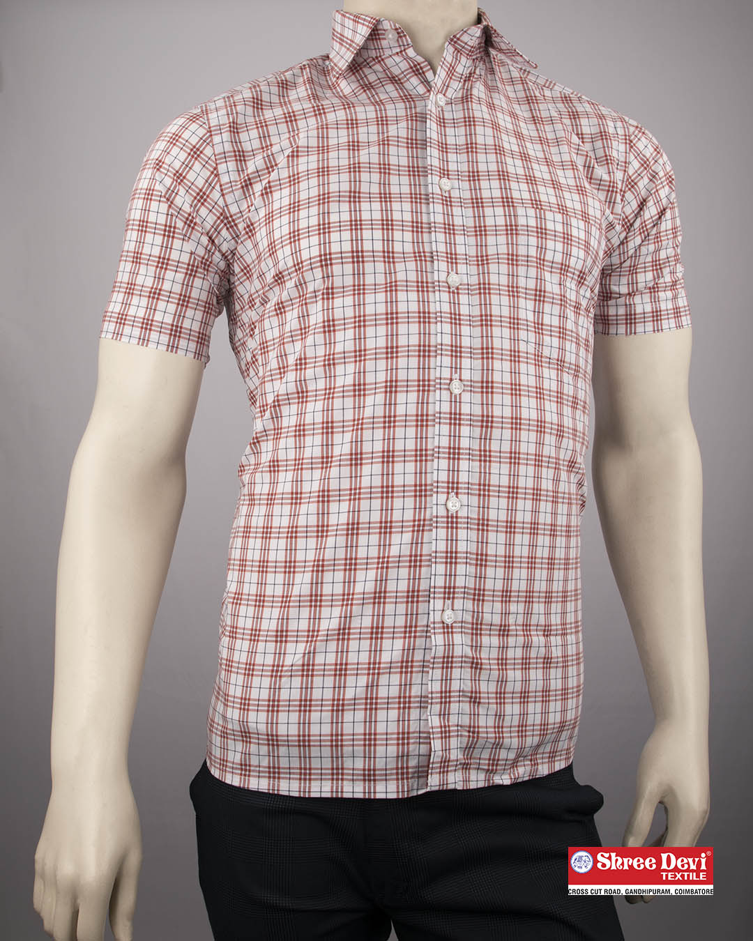 Meringue White Checkered Formal Half Sleeve Shirt
