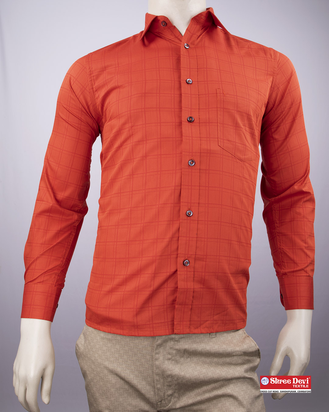 Tomato Red Checkered Formal Shirt