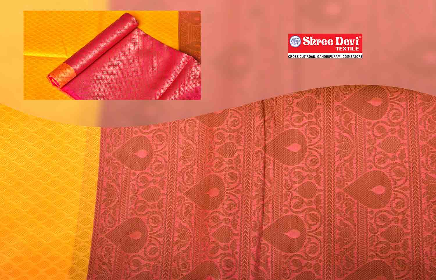 Mango Yellow with Rose and Therad Border Organza Saree