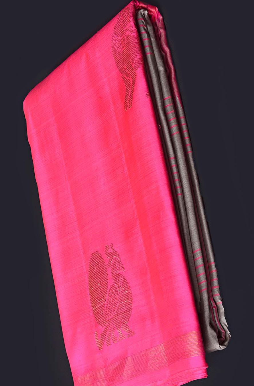 Grey with Pink Pure Kanchipuram Traditional Silk Saree
