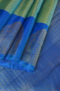 Avocado Green and Cobalt Blue Kanchi Fancy Pure Silk Saree
