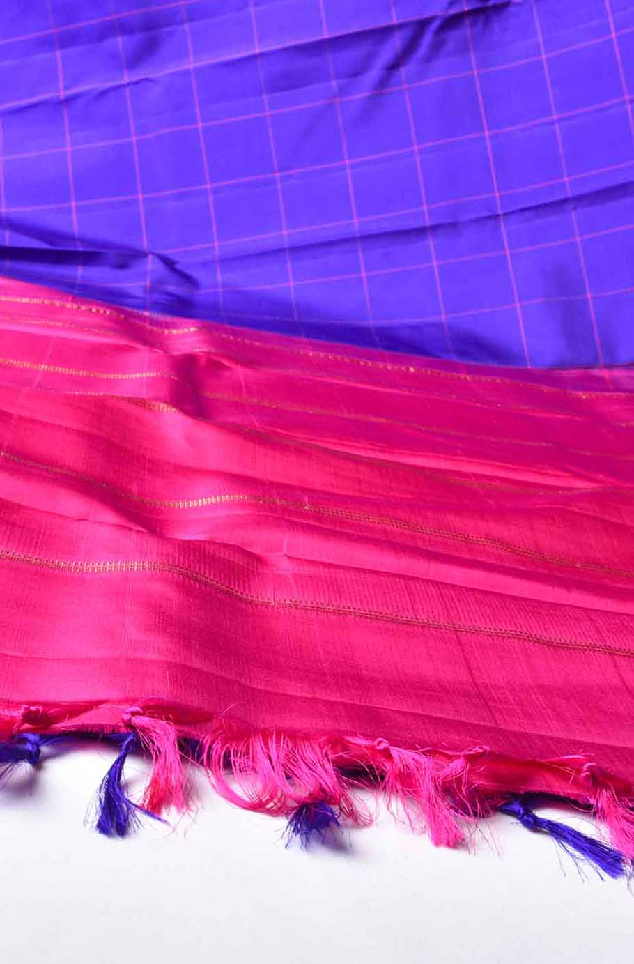 Violet with Pink Checks Pure Kanchipuram Traditional Silk Saree