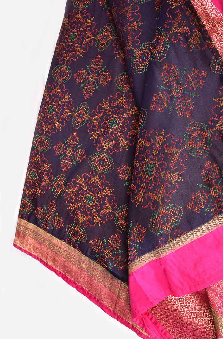 Blue with Pink Ikkat Banaras Saree