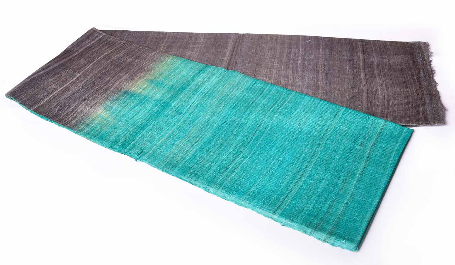 Ash Grey with Jungle Green Without Border Jute Saree