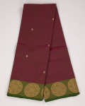 Rosewood Red Kovai Pure Cotton Saree