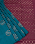 Peacock Blue Elite Motif Kancheevarams Silk Saree with Circle Floral Design Zari Motifs