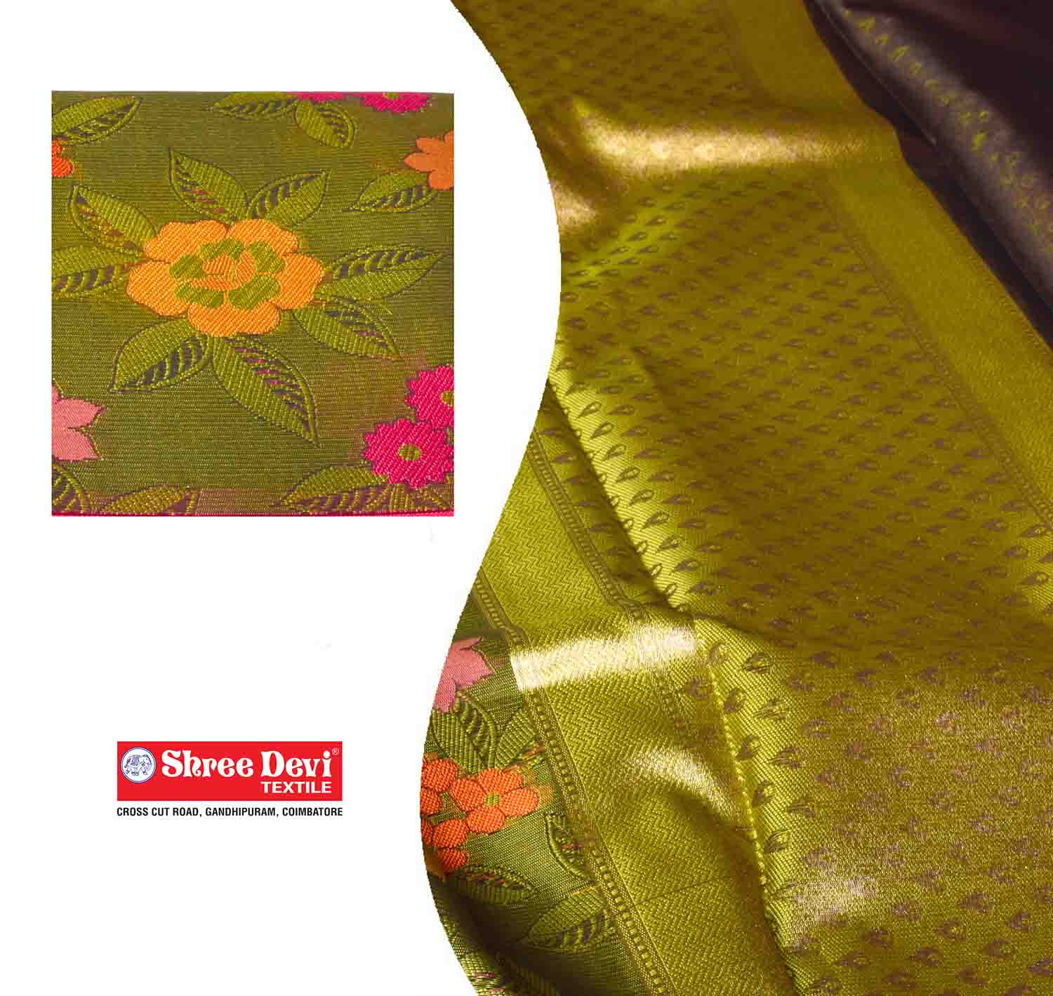 Green with Multi Colour Floral Organza Saree