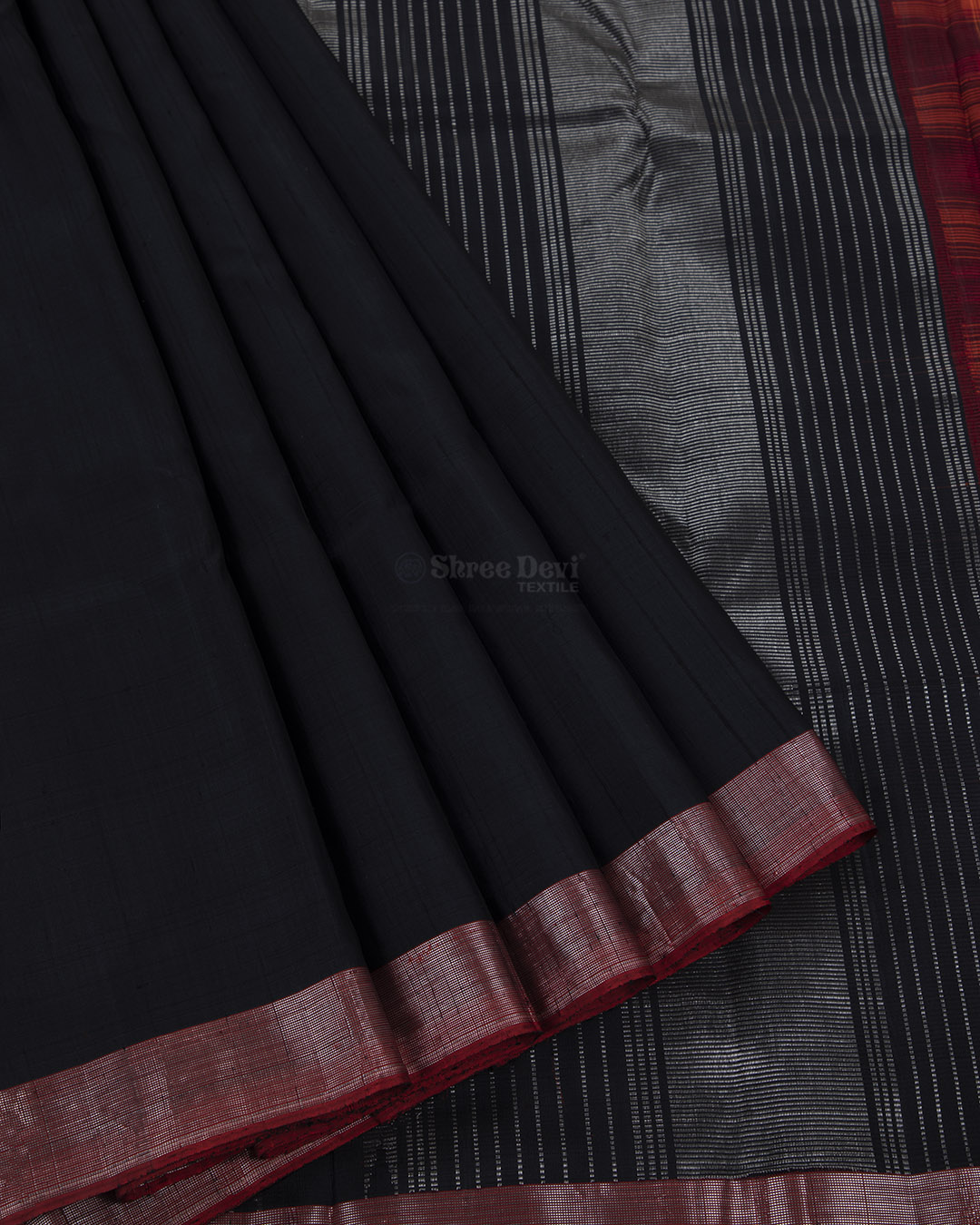 Black Kanchivaram Silk Saree with Silver Zari Border