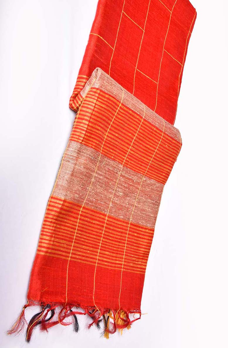 Red with Yellow Jute Saree