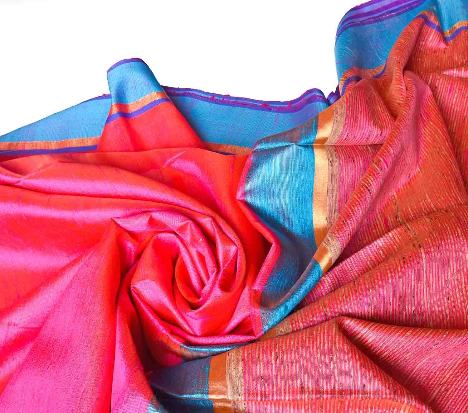 Pink with Blue Border Jute Saree