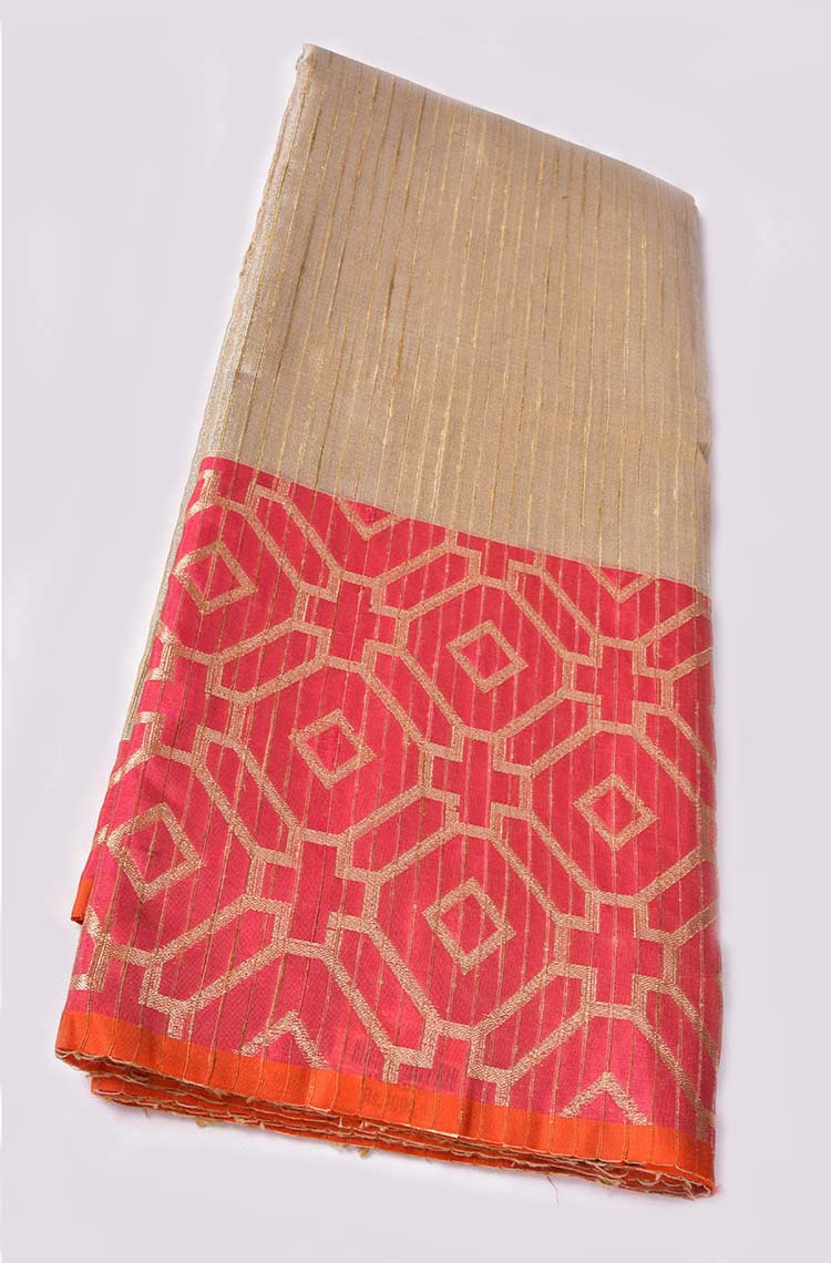 Brown and Pink Combination Silver Tissue Banaras Cotton