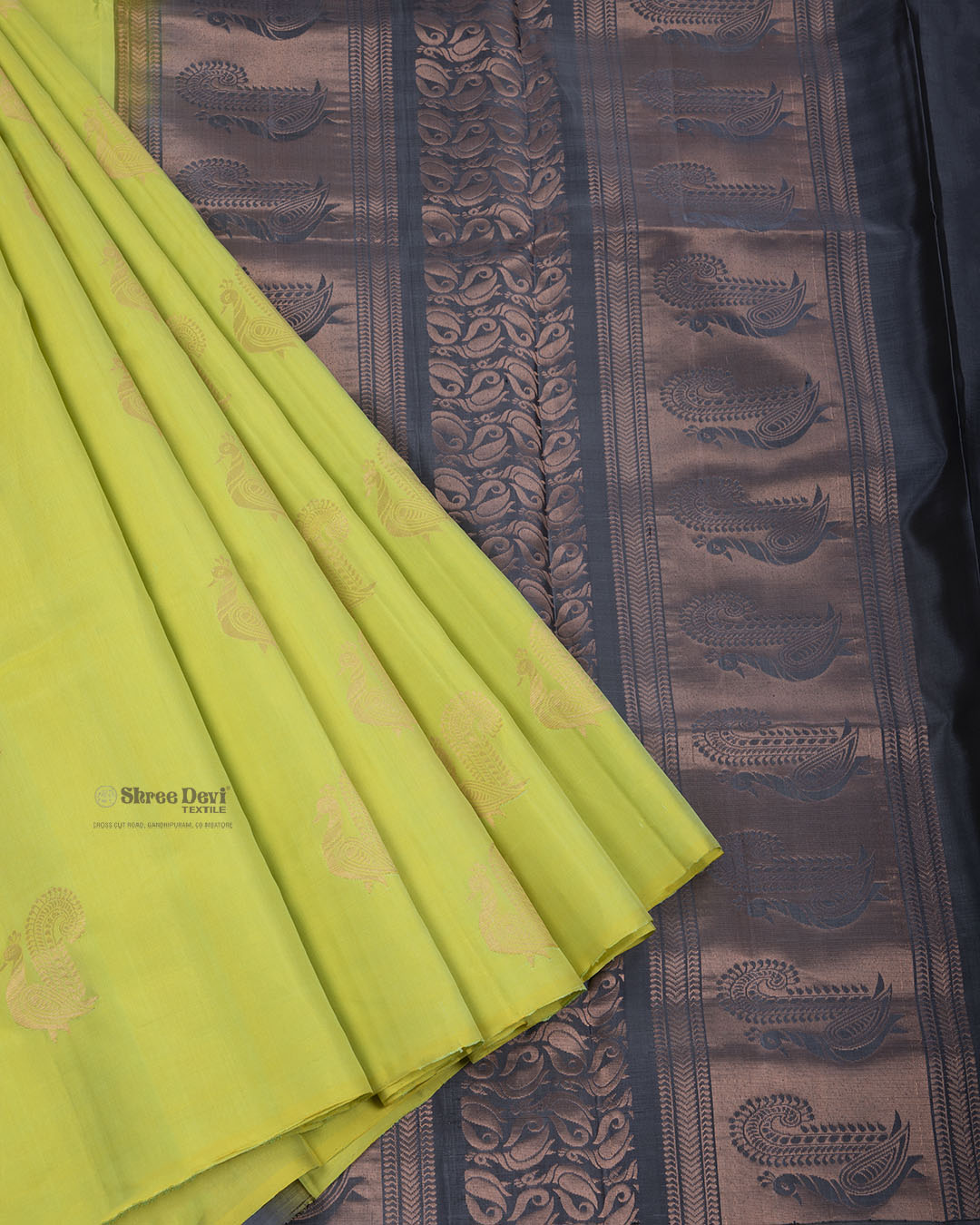 Lime Green Elite Motif Kancheevarams Silk Saree with Copper Peacock Zari Motifs