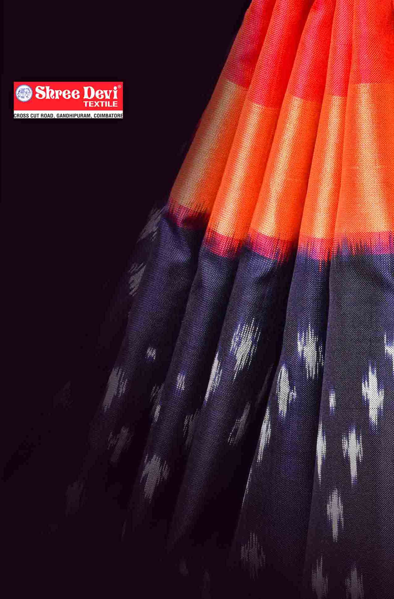Blue with Orange Ikkat Silk Saree