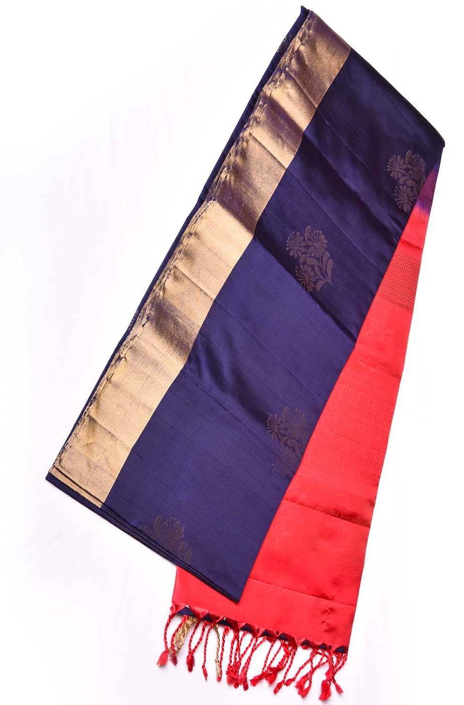 Blue with Red Golden Embossed Soft Silk Saree